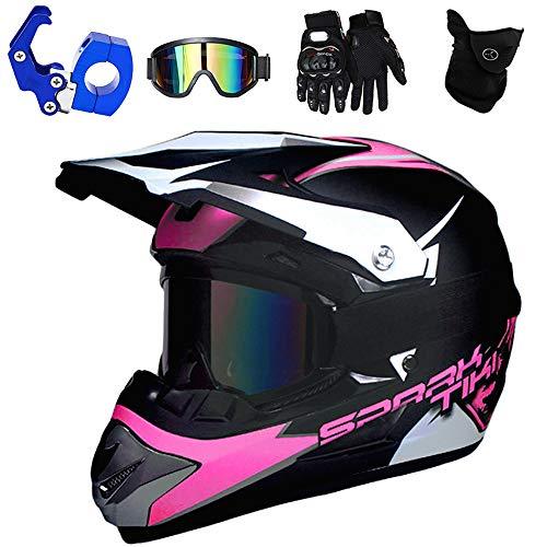 PKFG® Motocross Helm Kinder Pink, Offroad Motorradhelm mit Visier Brille Handschuhe Maske und Helmhaken, Mädchen Motorrad Cross Enduro Helm für Mountainbike MTB Moped Kopf Schutz, S (52~53CM)