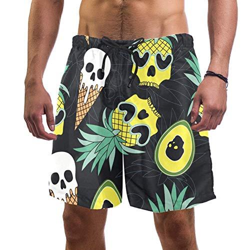 Eslifey Herren Strand-Shorts Skull Ananas Eis Avocado Badehose elastisch Badeanzug Boardshorts für Herren Gr. XL, multi