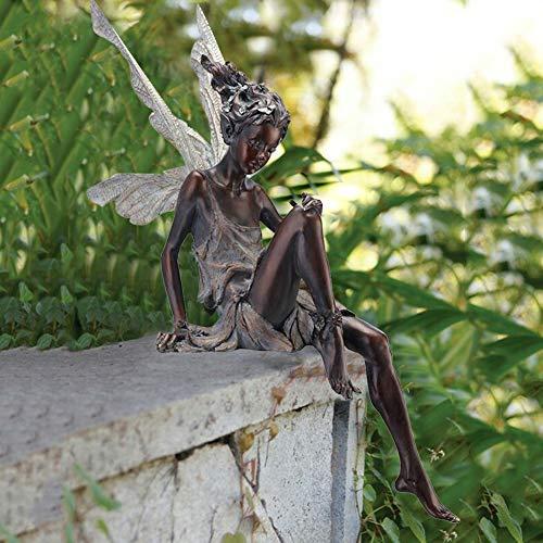 Elfen Figur Sitzen Magische Fee,Sitzende Garten Elfen Figuren, Tudor und Turek Sitzen Fee Statue, Harz Handwerk Landschaftsbau Hof Dekoration Garten Statue Fairy Elf Elfe Fee Figur(Kupfer)