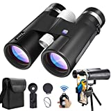 Binoculars for Adults with Universal Phone Adapter & Tripod 12x42 High Definition Super Bright Large View Binoculars for Bird Watching Camping Wildlife Hiking Travel, Zoom BAK4 Prism FMC Waterproof