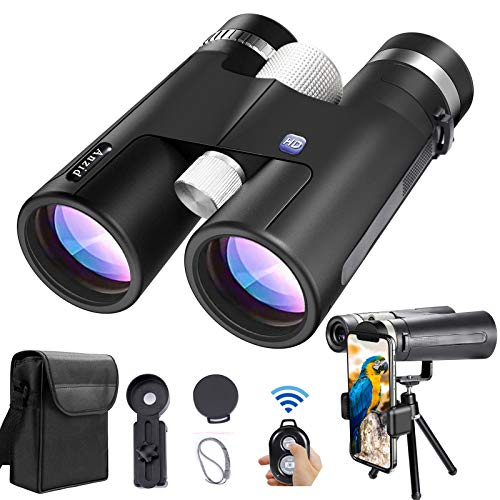 Binoculars for Adults Compact 12x42 High Definition Bright Big View Bird Watching Binoculars Image Stabilized for Camping Hiking Travel Sports Hunting, with Bluetooth Remote Control Tripod
