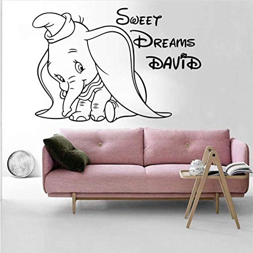 Hyllbb Benutzerdefinierte Name Sweet Dream Dumbo Elefant Wandtattoo Kinderzimmer Baby Kindergarten Cartoon Name Dumbo Elefant Wandaufkleber Schlafzimmer Vinyl 66 * 45 Cm