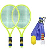 FENGXU Kids Badminton Racquets 1 Pair Lightweight Durability Plastic Toy Tennis Racquets with Badminton for Outdoor Sports Games
