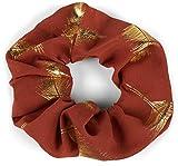styleBREAKER Ladies XXL cravatta per capelli con stampa a piume metalliche, elasticizzata, scrunchy, gomma intrecciata, fascia per capelli 04027020, colore:Ruggine