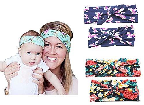 Hemuu 2 Sets Diademas Madre-Niño, headband elástica con orejas de conejo, Bowknot Hairband, Diadema impresa para la madre y el bebé (azul oscuro/negro)