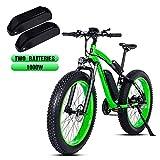 Shengmilo-MX02 26 Pulgadas neumático Gordo Bicicleta eléctrica 1000 W Beach Cruiser Hombres Mujeres Montaña e-Bike Pedal Assist 48V 17AH batería (Verde (Dos Pilas), China Motor 1000w)