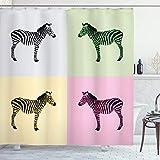 ABAKUHAUS Rosa Zebra Duschvorhang, Bunte Frames Pop, Leicht zu pflegener Stoff mit 12 Haken Wasserdicht Farbfest Bakterie Resistent, 175 x 200 cm, Multicolor