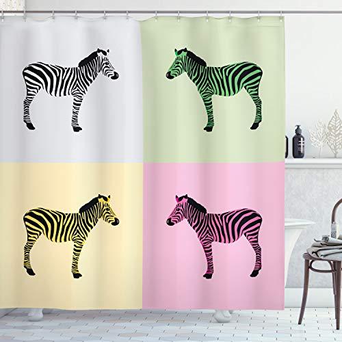 ABAKUHAUS Rosa Zebra Duschvorhang, Bunte Frames Pop, Pflegeleichter Stoff mit 12 Haken Wasserdicht Farbfest Bakterie Resistent, 175 x 180 cm, Multicolor