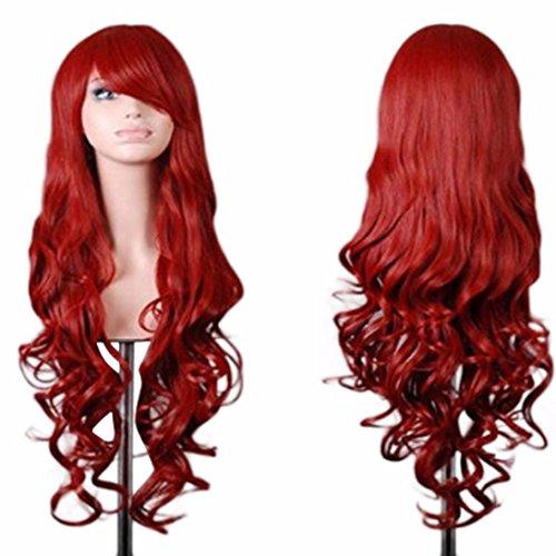 Vovotrade Femmes Lady Long Ondulé Cheveux Bouclés Anime Cosplay Partie Pleine Perruque_Rouge
