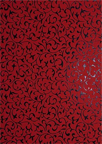 Netuno 5 Blatt Rot Dekorpapier mit Spitzenmuster in Schwarz, 180x250mm, Effekt-Karton handgemacht, 150g, ideal für Einladungskarten, Hochzeit, Geburtstag, Weihnachten, Basteln