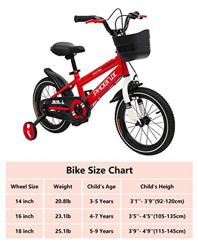 PHOENIX Kids Bike Children Bicycle for Boys and Girls, 14 16 18 inch with Stabilizers and Basket (Red, 18 inch)