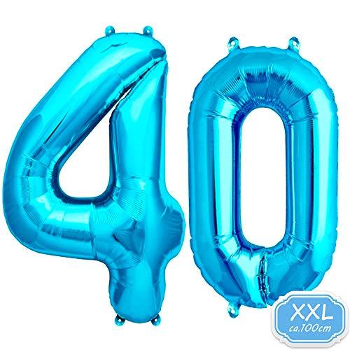 FUNXGO Folienballon Zahl in Blau - XXL / ca.100cm Riesenzahl Ballons - Folienballons für Luft oder Helium als Geburtstag, Hochzeit , Jubiläum oder Abschluss Geschenk, Party Dekoration (Blau [ 40 ])