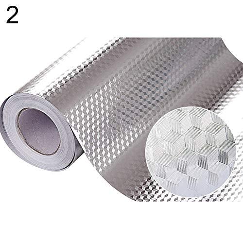KeKeandYaoYao Keuken Backsplash Muurstickers, Keuken Stickers Zelfklevende Keuken Aluminium folie Stickers Olie Proof Waterdichte Fornuis Sticker (1Pack) 2#60 * 200cm