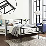 GreenForest Twin Bed Frame Metal Platform with Stable Metal Slats Stable Headboard and Footboard/Black,Twin/Single