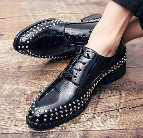 LOVDRAM Chaussures en Cuir pour Hommes Rivets De Mode en Cuir Verni Hommes Robe Chaussures Pointu Toe Richelieus Chaussures pour Hommes à Lacets Designer De Luxe Hommes Chaussures