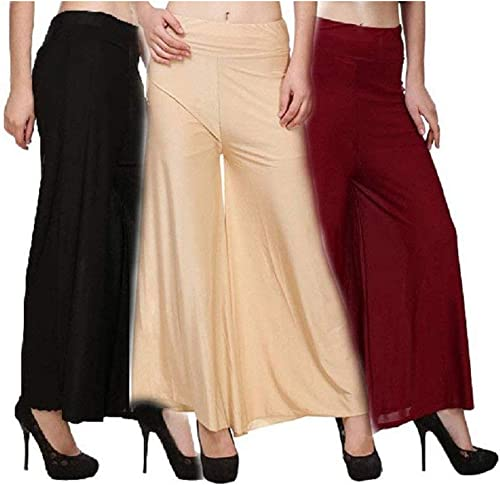 Shmayra Women s Loose Fit Palazzo Pants Pack of 3