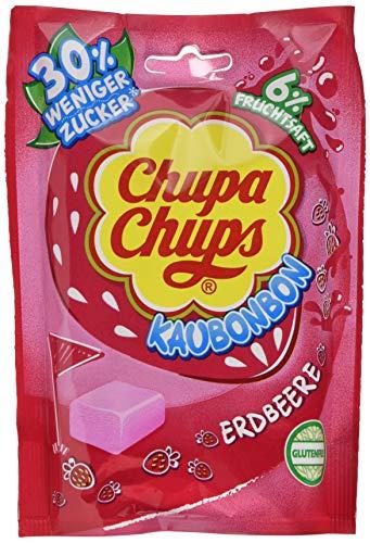 Chupa Chups Kaubonbon Erdbeere, 7er Pack Bonbons, leckerer Kauspaß mit Erdbeergeschmack