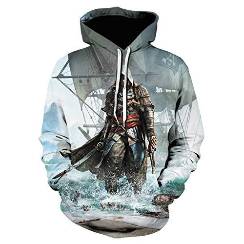 YJXDBABY-Assassin'S Creed-Jersey Unisex, Suéter Impreso En 3D, Sudadera Casual De Pareja, Sudadera con Capucha De Manga Larga con Cuello Redondo, Ropa para Niños, Chaqueta para Hombre-XXX-Large