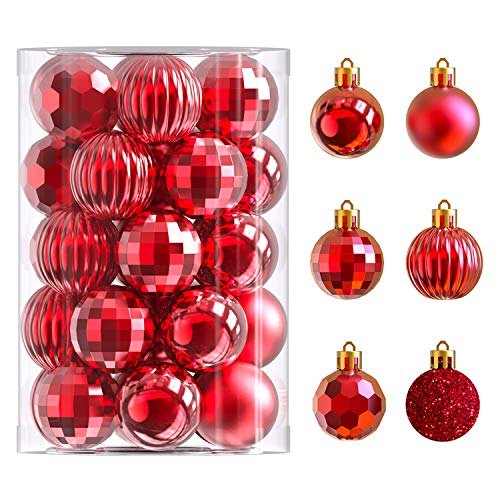 34 Ct Christmas Tree Ornaments 1.57 inch Shatterproof Plastic Xmas Tree Hanging Balls for Christmas Decorations (Red)