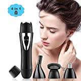 Flawless 4 in 1 USB Rechargeable Waterproof Painless Facial Hair, Eyebrow, Nose Electric Trimmer for Women (Black)