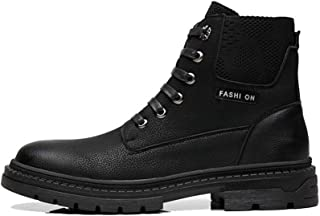 Sunny&Baby Ankle Boots for Men Work Boots Lace up Microfiber Leather Round Toe Anti Slip Stitching Elastic Sides Rubber Sole Vegan Durable (Color : Black, Size : 5.5 UK)