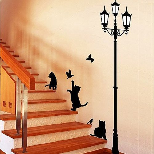 Fuloon Schwarze Katzen und Straße Licht Wandtattoo Wandaufkleber Wandsticker für Wohnzimmer Schlafzimmer Kinderzimmer