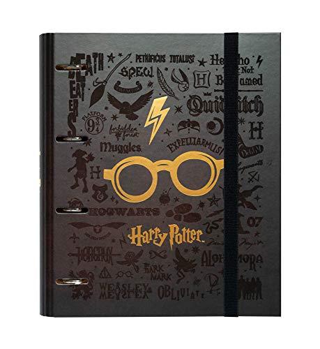 Grupo Erik - Raccoglitore ad anelli A4 Harry Potter Glasses con chiusura con fascia elastica per tenere al sicuro i tuoi appunti, Marrone
