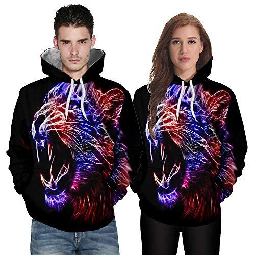 Sweat-Shirts Homme Femmes,FNKDOR Hommes Mode Chemises 3D Abstrait Impression Manche Longue Sweat Couples Haut Blouse Tops (H Noir,3XL)
