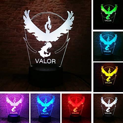 New Style Pokemon Go Kollektion Team Valor Team Beste 3D LED Nachtlicht USB Tischlampe Kinder Geburtstag Geschenk Nachtdekoration am Bett