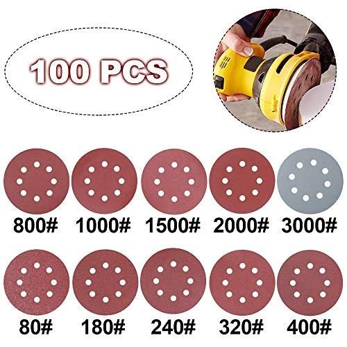 Schleifscheiben, 100 Stück Schleifpapier 125 mm 12,7 cm 8 Loch Schleifpapier Schwingschleifer Pads für Exzenterschleifer von 80–3000