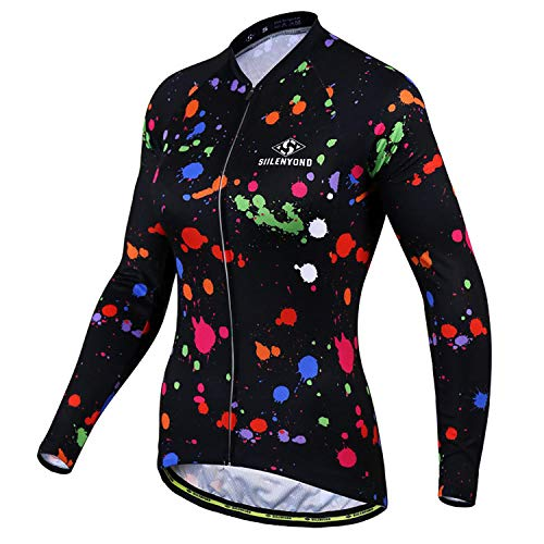 SIILENYOND Bike Long Sleeve Jersey MTB Bicycle Cycling Clothing Breathable Quick Dry Women Outdoor Sportwear B-XS