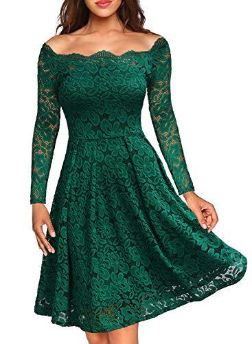 MIUSOL Damen Vintage 1950er Off Schulter Cocktailkleid Retro Spitzen Schwingen Pinup Rockabilly Kleid Grün XS