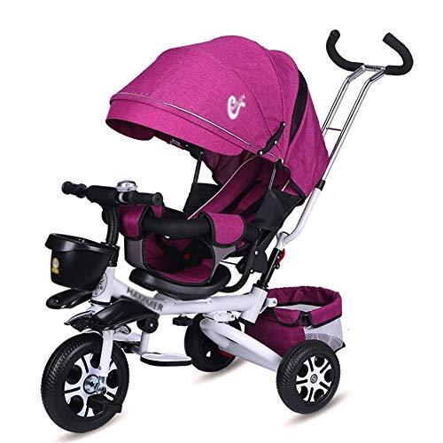KDMB Trike estivi per Bambini, Triciclo per Bambini Viola, bicicletta a 3 ruote per Bambini con sedile girevole e tenda da Sole staccabile, pieghevole per età da 1 a 6 Anni (Colore: Viola)