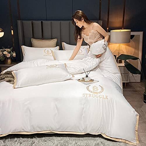 Set de Fundas Reversibles para edredón-Xiashui Lavado Bordado Ropa de cama Seda Seda Seda Seda Comfort Especial Big Duvet Set Individual Double Bed Single Almohada Regalo-GRAMO_1,8 m de cama (4 pieza