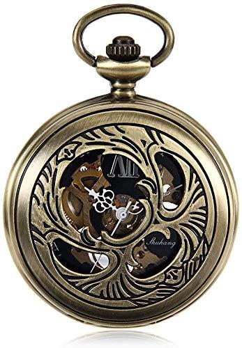 N/ A Taschen-Uhr-Retro-Nostalgie Taschenuhr Klassische Bronze Höhlen Uhrwerk Mechanische Uhr Männer Schwarzes Zifferblatt Klassische Taschen-Uhr-Quarz