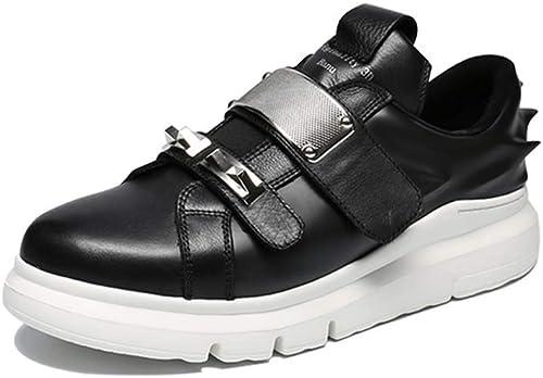 Hommes Chaussures d'impression 3D en Cuir Bas tête Baskets Rondes Velcro Couleur Unie Chaussures de Sport Printemps et en été