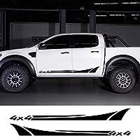 車用ステッカー 2PCS車のドアサイドスカートビニール4x4ステッカーフォード用レンジャー用ラプター用いすゞDma日産用ナバラ用ハイラックス用ピックアップオートアクセサリー