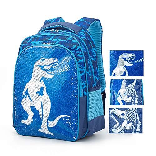 Magic Reversible Sequin School Bag, Lightweight Pre-School Backpack for for Kindergarten or Elementary (Dinosaur, 17-inch)