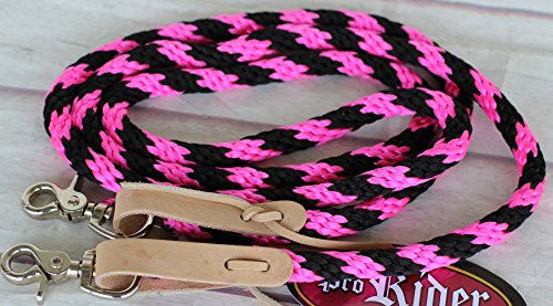 PRORIDER Horse Roping Tack Western Barrel Contest Reins Nylon Braided Snap 7 Feet 607201