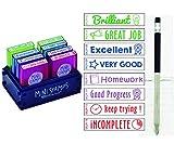 Pack 8 Sellos Profesor Mini Stamps Motivación INGLES. Hasta 10.000 impresiones por mensaje + REGALO