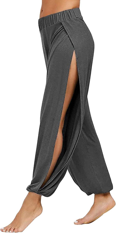 LIUguoo Women's Yoga Harem Pants Side Slit Joggers Active Workout Sweatpants Beach Cover-up Pants,Cotton Linen Capri Pants