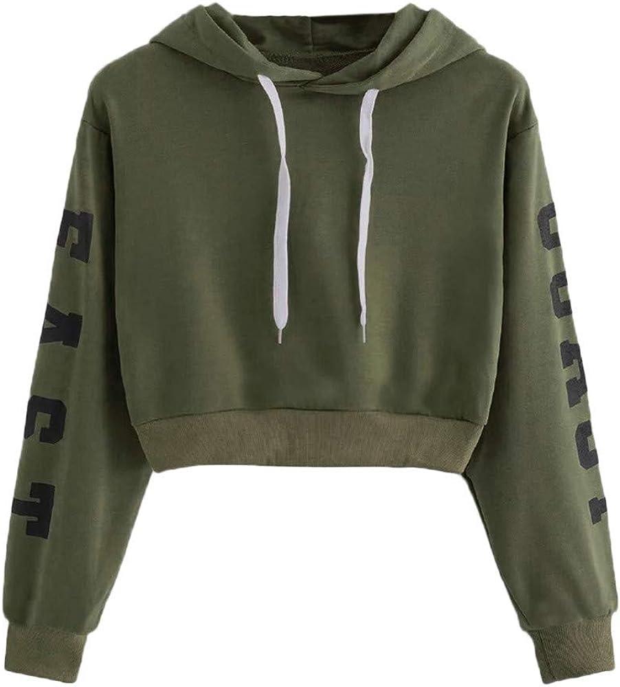 SALIFUN Fashion Women Solid Lace Up Drawstring Long Sleeve Crop Top Hoodie Sweatshirts T Shrits for Girls