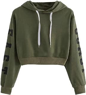 Womens Casual Cropped Hoodies Sweatshirt Pullover 'East Coast' Letter Print Long Sleeve Crop Tops