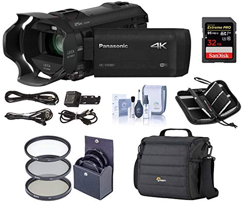 Panasonic 4K Ultra HD Camcorder HC-VX981K (Black), 20x Optical Zoom, Bundle Kit with Video Bag + 32GB SDHC Card + 49mm Filter Kit + Cleaning Kit + Memory Wallet