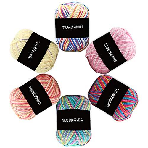 Crochet Knitting Yarn - 6 × 50g Multi-Colored Cotton Double Knitting Yarn, 100% Acrylic Wool...