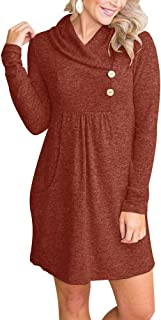 ETCYY NEW Womens' Cowl V- Neck Buttoned Knit Loose Fit Sweater Dress with Pocket
