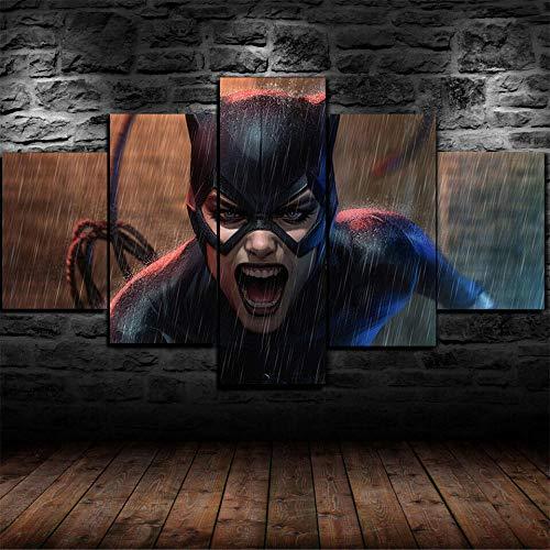 WUZHIXIN Cuadro sobre Lienzo - 5 Piezas Impresión En Lienzo 150Cm *80Cm Catwoman DC Comics Listo para Colgar - En Un Marco - Impresión Artística Imagen Gráfica Decoracion De Pared con Marco