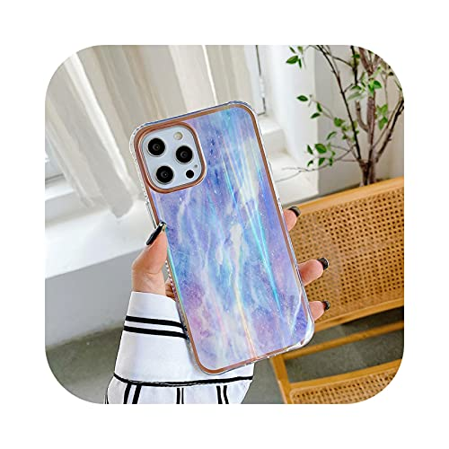 Henraly - Carcasa para iPhone 12 Mini 11 Pro Max 7 8 Plus se 2020 X XS Max XR Laser Luxe Silicona Flexible Pp432-2-For-Iphone12Mini