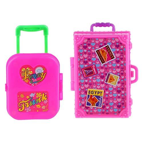 Wacemak1r - Maleta de plástico en miniatura, 2 unidades, color rosa