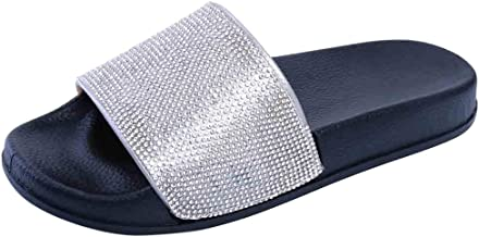 Womens Flat Slides Sandals Diamante Sparkly Sliders Colorful Diamond Slippers